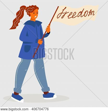 A Girl At A Rally With Holds A Poster With The Word Freedom, The Concept Of Freedom Of Speech. Trend