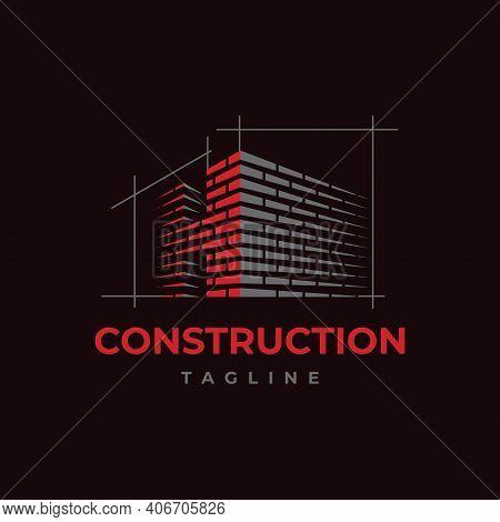 Home Build Symbol Logo Design Vector Template. Brick Work With Letter H Illustration