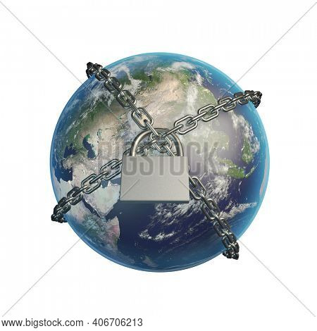 Planet Earth locked with chain. Lockdown concept. 3D illustration. This image elements furnished by NASA