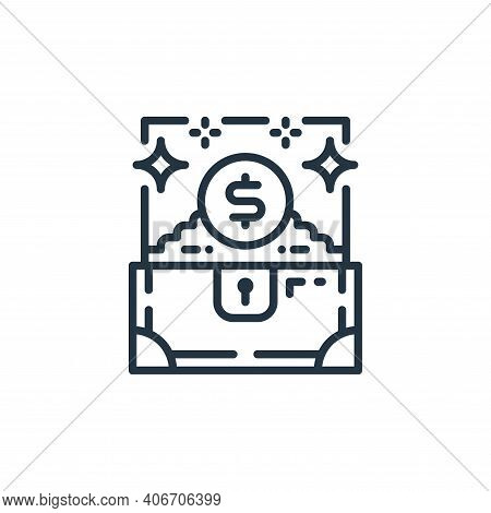 treasure chest icon isolated on white background from money and currency collection. treasure chest