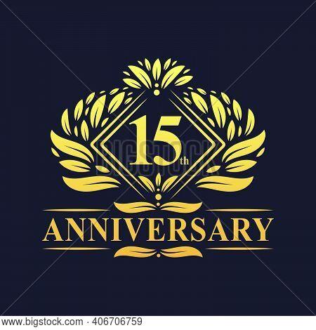 15 Years Anniversary Logo, Luxury Floral Golden 15th Anniversary Logo.
