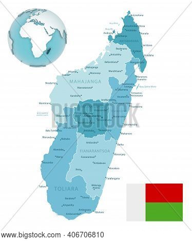 Madagascar Administrative Blue-green Map With Country Flag And Location On A Globe.