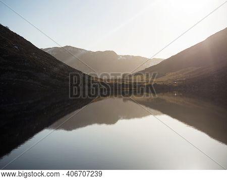 Panorama Reflection View Of Lago De Enol Alpine Mountain Lakes Of Covadonga Picos De Europa Asturias