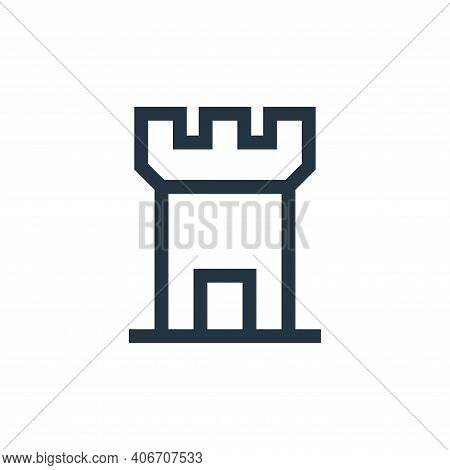tower icon isolated on white background from video game elements collection. tower icon thin line ou