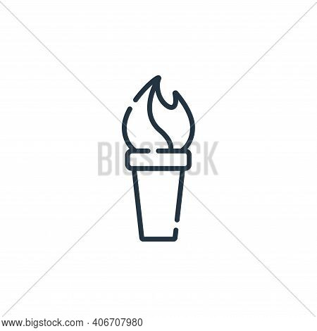 torch icon isolated on white background from circus collection. torch icon thin line outline linear