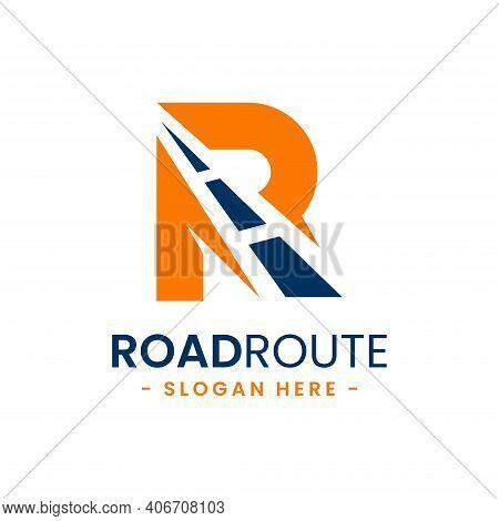 Letter R For Road Route Logo Design Template. Concept Of Destination, Address, Position, Travel, Gps