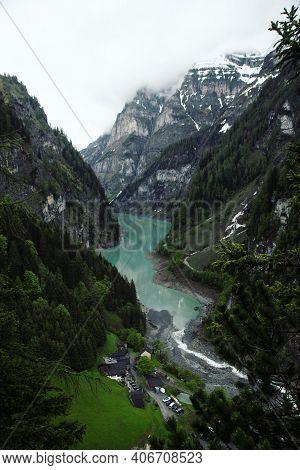 Panorama Valley View Of Alpine Mountain Village Hamlet St Martin Im Calfeisental Gigerwaldsee St Gal