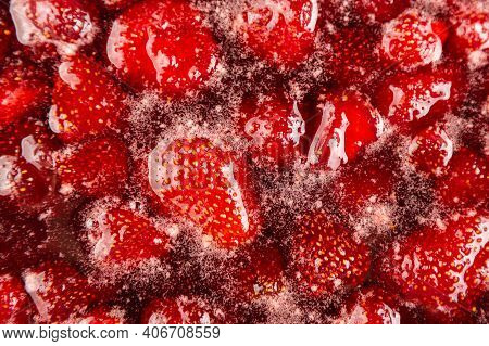 Close Up: Strawberry Jam. Make A Strawberry Jam. Boil Strawberries In The Pan. Process Of Cooking, B