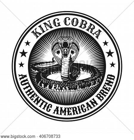 Round Vintage King Cobra Emblem. Monochrome Design Elements With Snake Ready For Attack. Gothic Or H