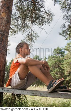 Two Boys In Shorts Sit On A Bench Under A Tree. Boy Looks To The Sky. Dreamer Guy