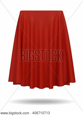 Red Fabric Covering A Blank Template Vector Illustration