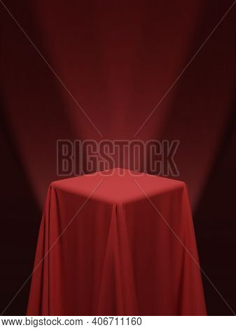 Red Fabric Covering A Cube Or A Table Vector Illustration