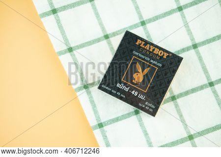 Samut Prakan, Thailand - February 5, 2021 : A Box Of Playboy Condom Size 49 Mm. Playboy Brands Of Co