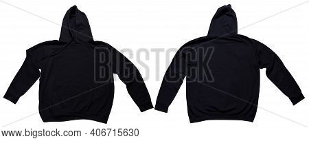 Black Hoodie Mock Up Set Front And Back View. Hoody Isolated On Wgite Background, Sweatshirt Mock Up