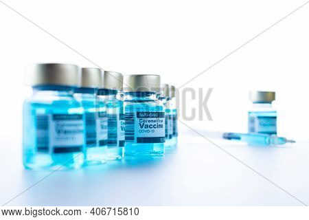 Vaccine Vial. Medical Syringe With Needle For Protection Flu Virus And Coronavirus. Covid Inoculatio