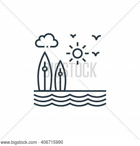 surfing icon isolated on white background from tourism collection. surfing icon thin line outline li