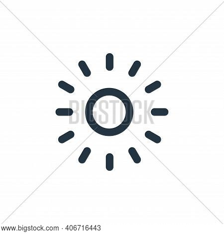 sun icon isolated on white background from landscaping equipment collection. sun icon thin line outl