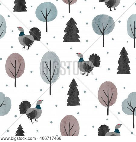 Seamless Capercaillie Bird Pattern. Vector Wood Illustration With  Cartoon Grouse And Trees