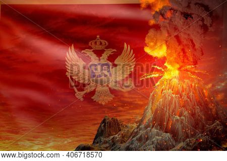 Stratovolcano Eruption At Night With Explosion On Montenegro Flag Background, Suffer From Disaster A