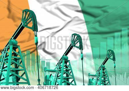 Cote D Ivoire Oil And Petrol Industry Concept, Industrial Illustration On Cote D Ivoire Flag Backgro