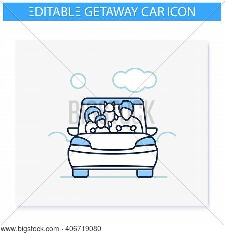 Family Road Trip Line Icon. Happy Parents, Child And Pet Travel In Car On Holiday. Traveling On Vaca