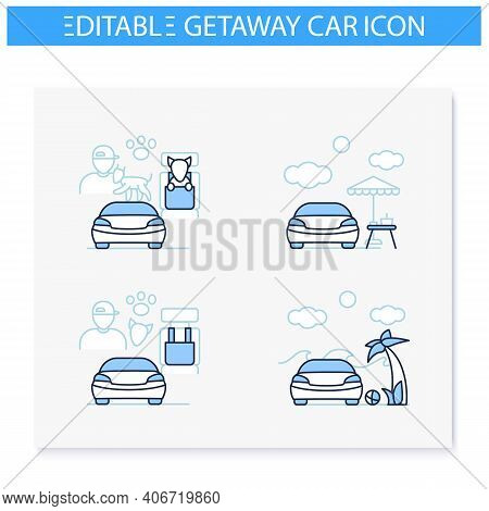 Getaway Car Line Icons Set. Relax And Travel By Automobile Concept. Contains Such Icons As Pet Seat,