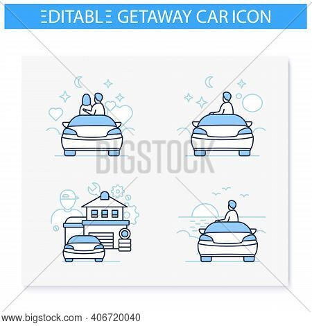 Getaway Car Line Icons Set. Relax And Travel By Automobile Concept. Contains Such Icons As Garage, T