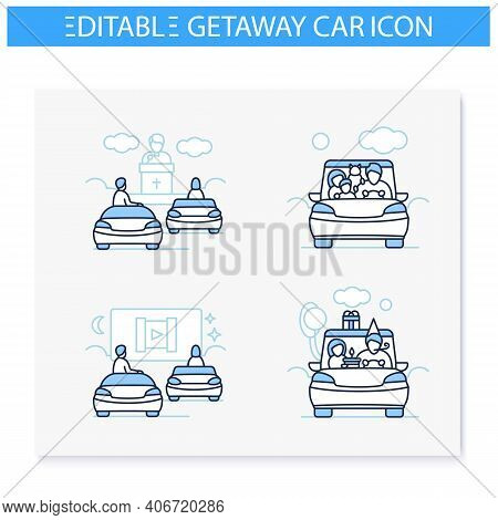 Getaway Car Line Icons Set. Relax And Travel By Automobile Concept. Contains Such Icons As Family Tr