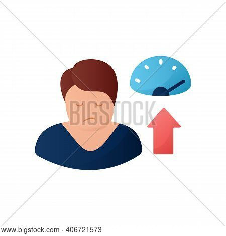 Weight Gain Flat Icon. Sleep Disorder, Stress Symptom. Healthy Sleeping Concept. Metabolism Problem.