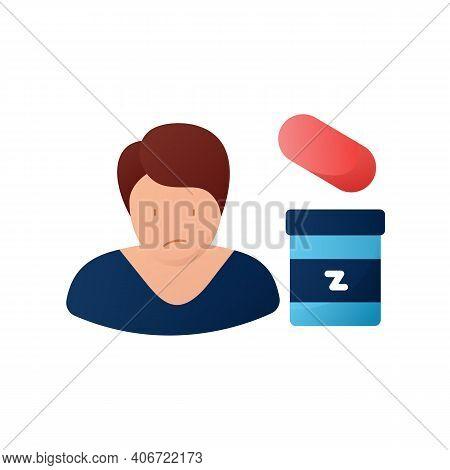 Sleep Pills Flat Icon. Insomnia Treatment. Sleep Disorder. Healthy Sleeping Concept. Sleep Problems
