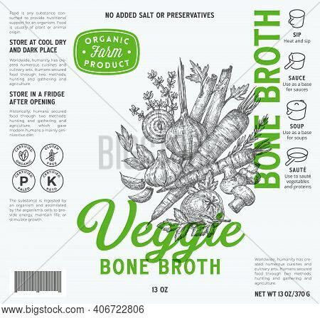 Veggie Bone Broth Label Template. Abstract Vector Food Packaging Design Layout. Modern Typography Wi