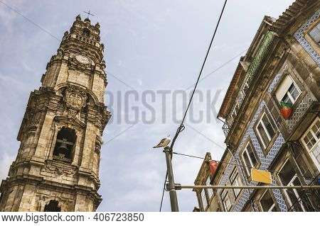 Tower Of Church Of Clerics And Colorful Architecture Of Porto, Portugal