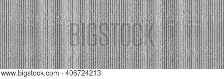 Panorama Of New Silver Galvanized Fence With Pattern Texture And Background Seamless