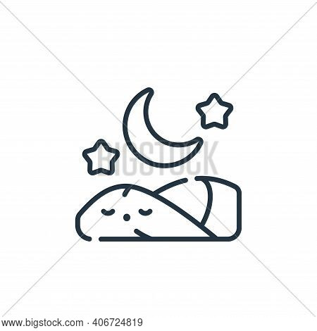 sleeping icon isolated on white background from ramadan collection. sleeping icon thin line outline