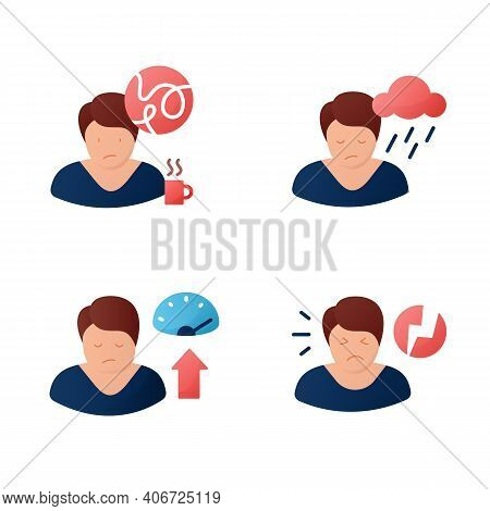 Sleep Disorder Color Icons Set. . Healthy Sleeping Concept. Symptoms And Types Disorders Sleep. Fall