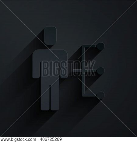Paper Cut User Of Man In Business Suit Icon Isolated On Black Background. Business Avatar Symbol Use