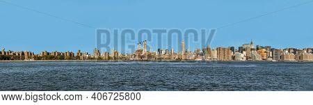 Skyline Of New York Seen From River Hudson