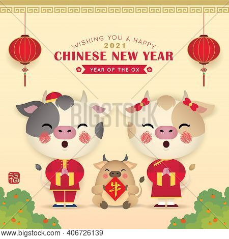2021 Year Of The Ox: Chinese New Year Greeting Card. Cute Cartoon Cows With Red Lanterns & Chinese C