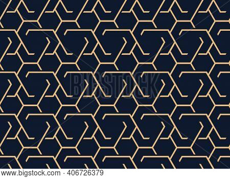 The Geometric Pattern With Lines. Seamless Vector Background. Gold And Dark Blue Texture. Graphic Mo