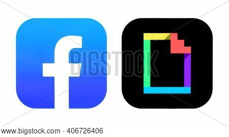 Kiev, Ukraine - September 14, 2020: Facebook And Giphy Icons, Printed On Paper. Facebook Bought Giph