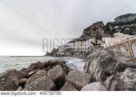 Atrani, Amalfi Coast, Campania, Italy, February 2020: Cityscape Of Atrani View Thought The Rock, Atr