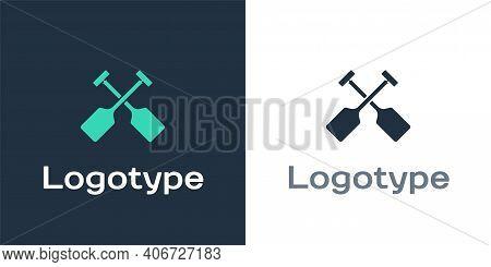 Logotype Paddle Icon Isolated On White Background. Paddle Boat Oars. Logo Design Template Element. V
