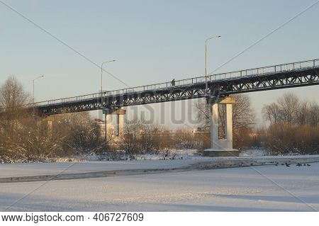 Pedestrian Bridge In Winter Across The Berezina River In The City Of Borisov.