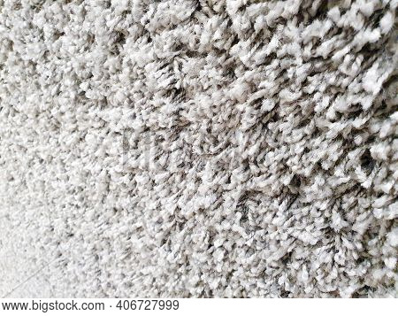 Gray Long Pile Carpet Texture Background. Polypropylene Long Pile Carpet, Close-up