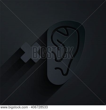 Paper Cut Deafness Icon Isolated On Black Background. Deaf Symbol. Hearing Impairment. Paper Art Sty
