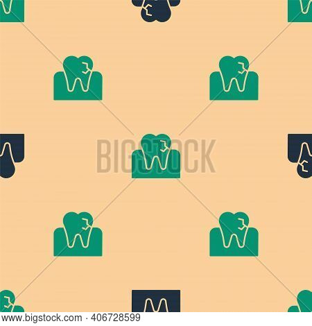 Green And Black Tooth With Caries Icon Isolated Seamless Pattern On Beige Background. Tooth Decay. V