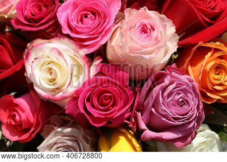 A Bouquet Of Wonderful Different Colored Roses
