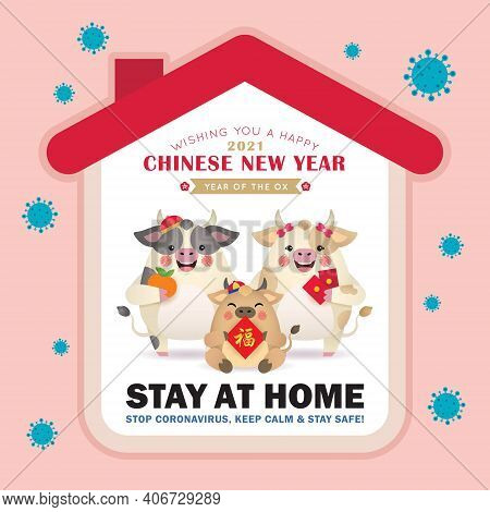 2021 Year Of The Ox - Covid-19 Coronavirus Quarantine Of Stay At Home Concept. Cartoon Cow Family Ce