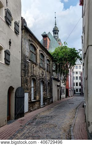 Narrow Deserted Street In The Old Town. Cathedral, Riga, Latvia.
