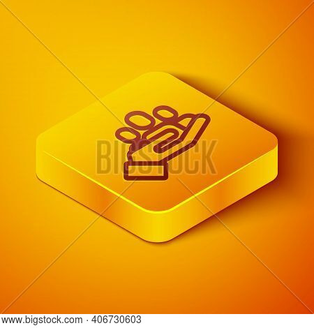 Isometric Line Hand For Search A People Icon Isolated On Orange Background. Recruitment Or Selection